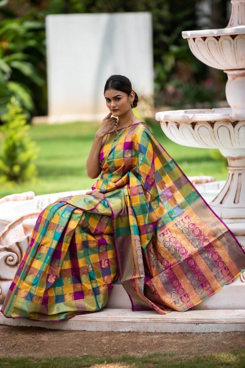 Kanchipuram silk Heavy Zari Work saree (DNHE5a)