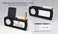 TABLE TOP WITH CLOCK AND PAD (WITH MOBILE,CARD AND PEN HOLDER)