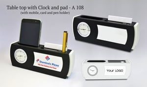 TABLE TOP WITH CLOCK AND PAD (WITH MOBILE,CARD AND PEN HOLDER