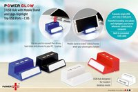 POWERGLOW 3 USB HUB WITH MOBILE STAND AND LOGO HIGHLIGHT (TOP USB)