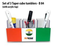 SET OF 3 TAPER CUBE TUMBLERS WITH ACRYLIC TOP