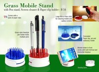 GRASS MOBILE STAND WITH PEN STAND, SCREEN CLEANER & PAPER CLIP HOLDER