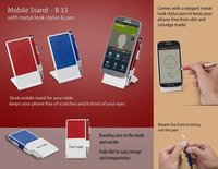 MOBILE STAND WITH METAL LOOK STYLUS & PEN