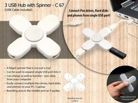 3 USB HUB WITH SPINNER (CABLE INCLUDED)
