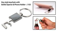 KEY STYLE KEYCHAIN WITH BOTTLE OPENER AND PHONE HOLDER