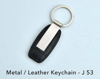 METAL/LEATHER KEYCHAIN