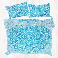 KING Size Green Lotus Floral Mandala Doona Cover Duvet Cover Set With Pillow Covers
