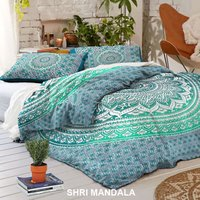 Green Ombre Hippie Mandala Quilt Cover Set Duvet Cover KING Size with Pillow Covers