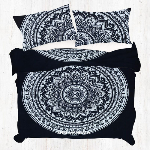 Black and White King Size Mandala Duvet Cover Hippie Doona Cover Set