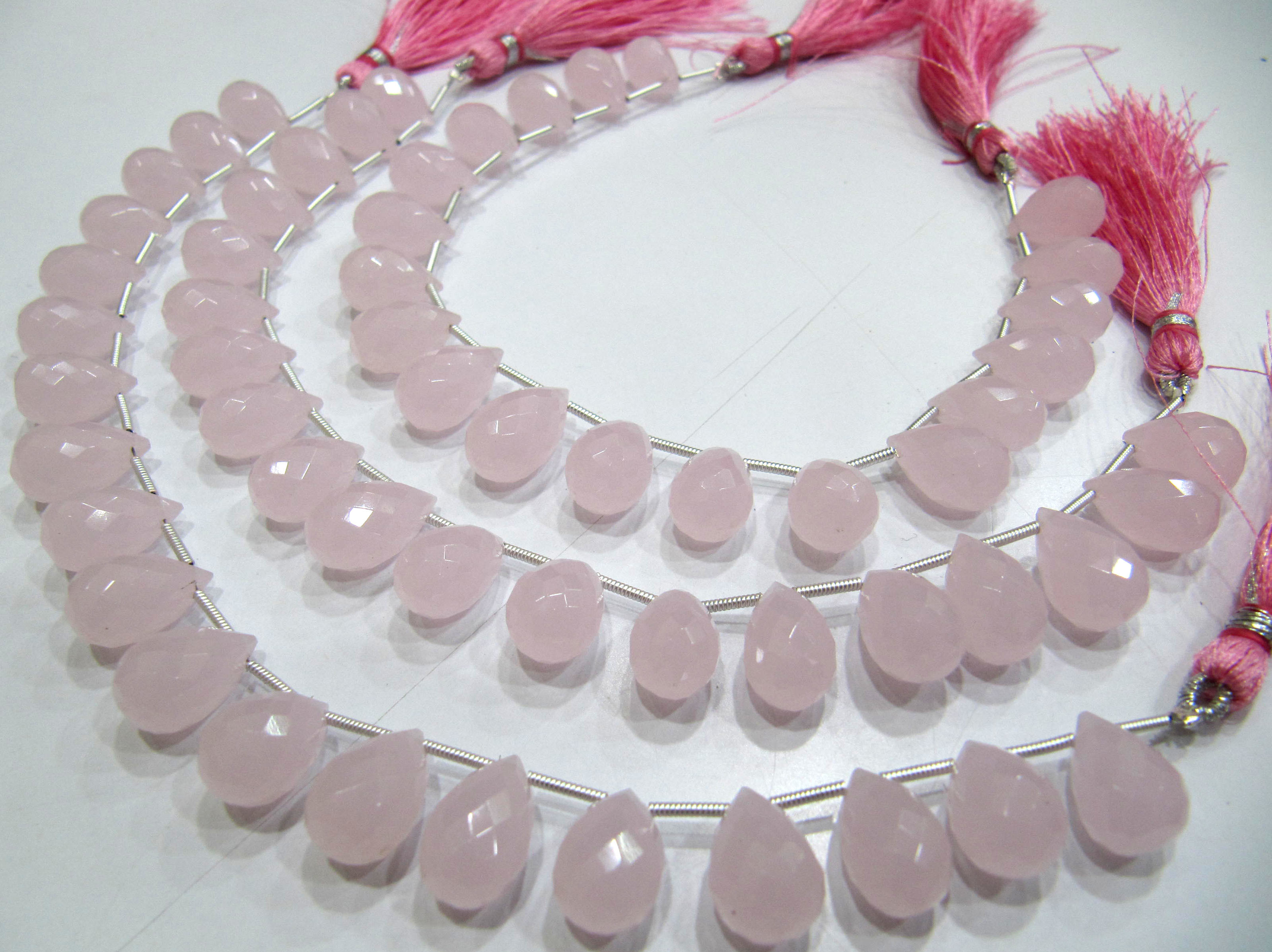 Rose Quartz 10x14mm Tear Drop Shape Hydro Quartz Beads