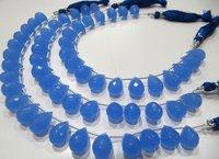 Blue Chalcedony 10x14mm Tear Drop Hydro Quartz Beads