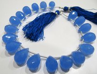 Blue Chalcedony 10x14mm Tear Drop Hydro Quartz Beads