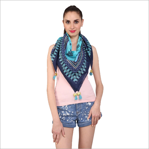 Printed  Square Scarves  with Tassels