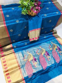 Embroidery Work Cotton Silk Saree