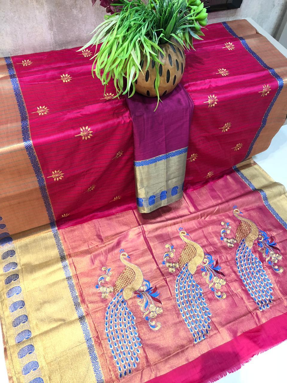 Embroidery Work Cotton Silk Saree