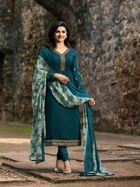 Prachi Desai A GREEN COLOR Royal Crape Embroidered Straight Suit