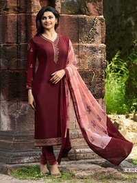 Prachi Desai MAROON COLOR Royal Crape Embroidered Straight Suit