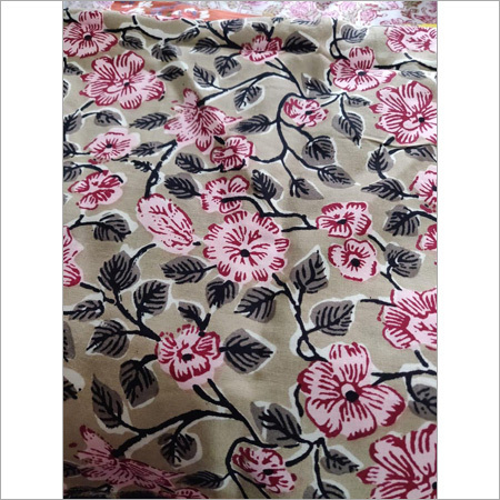 Floral Block Printed Cotton Fabric