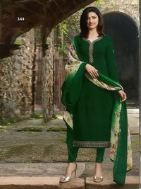 Prachi Desai green COLOR Royal Crape Embroidered Straight Suit