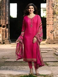 Prachi Desai PINK COLOR Royal Crape Embroidered Straight Suit