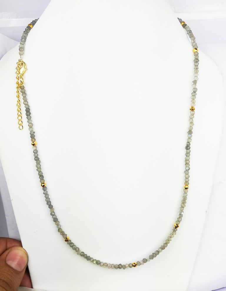 Labradorite and Gold Pyrite 3-4mm Faceted Rondelle Bead Necklace
