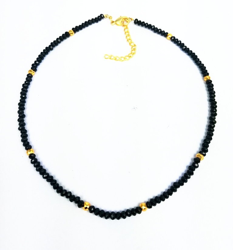 Pink Opal and Gold Pyrite 3-4mm Faceted Rondelle Bead Necklace