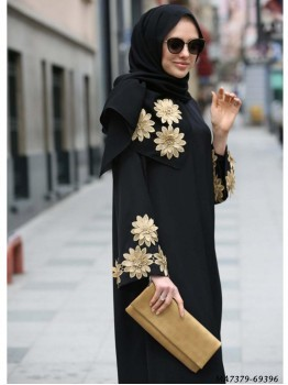 Black Nida Self Maxi Abaya