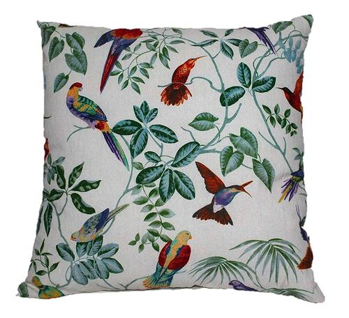 Multicolor Bird & Flower Print Cushion