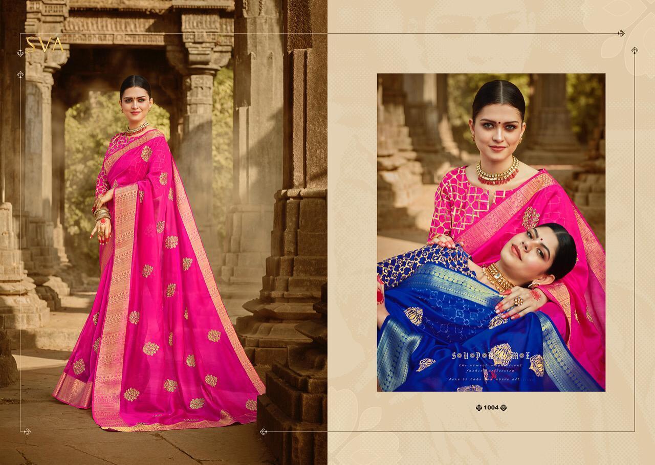 Hot Pink Patch Border Work Viscose Designer Saree