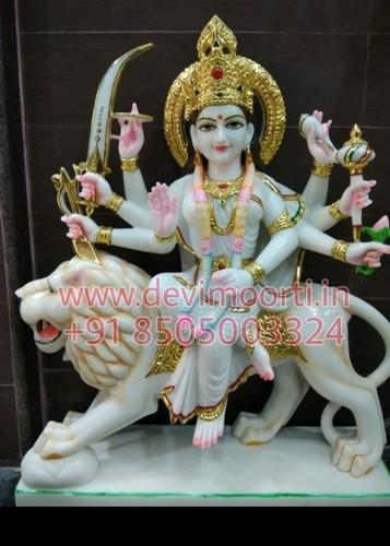 Pure white marble Durga statue