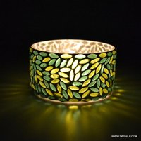 Green Mosaic Glass T- Light Candle Holder