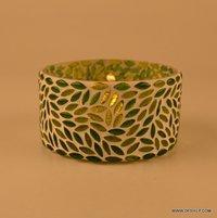 Green Mosaic Glass T- Light Candle Holder