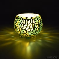 Mosaic Glass Candle Holder Gift Handcrafted