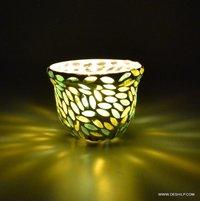 Mosaic Green Tealight Votive Candle Holder Handmade