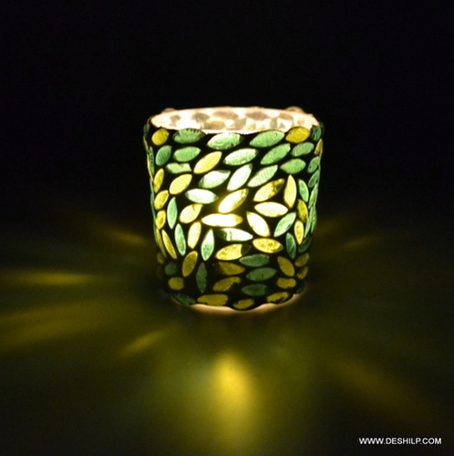 Green & White Mosaic Glass Tealight Votive Candle Holder