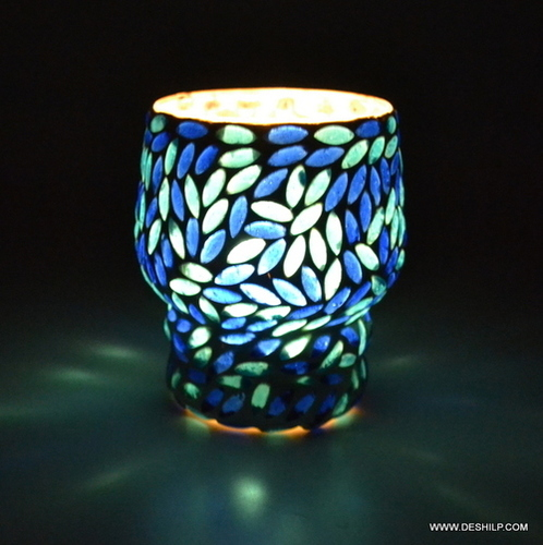 Design Blue & Mosaic Candle Holder Mosaic Glass Tealight Votive Candle