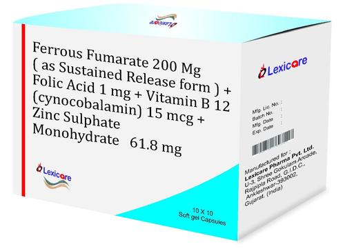 Ferrous Fumarate and Folic Acid and Vitamin B12 and Zinc Softgel capsules