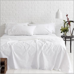 Plain White Cotton Single Bed Sheet With Pillow