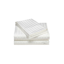 Striped White Single Bed Sheet With Pillow