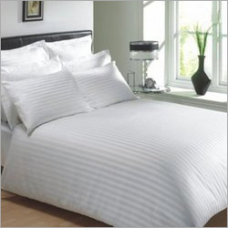 Striped Satin Double Bed Sheet With Pillow