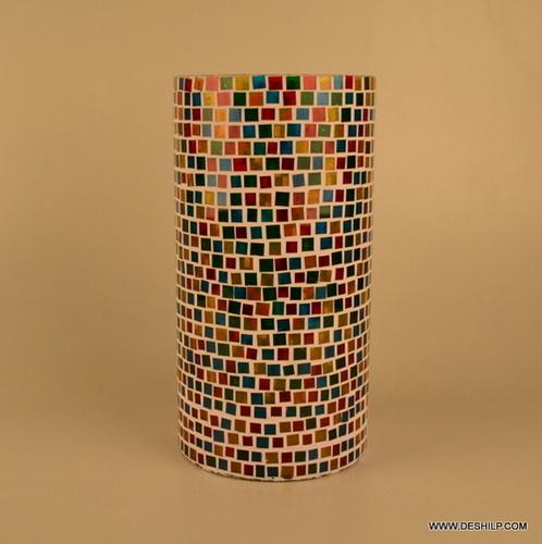 Mosaic Glass Vase Glass Mosaic Vase Blue Mosaic Decorative Vase Black Grey Mosaic Vase