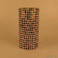 Mosaic Glass Vase Stained Glass Mosaic Vase Blue Mosaic Decorative Vase Black Grey Mosaic