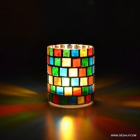MOSAIC GLASS T LIGHT CANDLE HOLDER