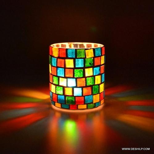 GLASS MOSAIC DECOR T LIGHT CANDLE HOLDER