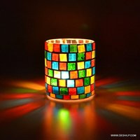 GLASS MOSAIC DECOR T LIGHT CANDLE HOLDER