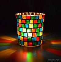 T-Light Holder glasses with wax tealight