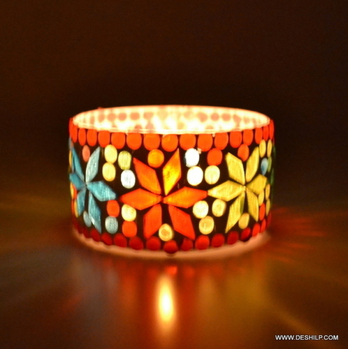 SMALL GLASS MOSAIC T LIGHT CANDLE HOLDER
