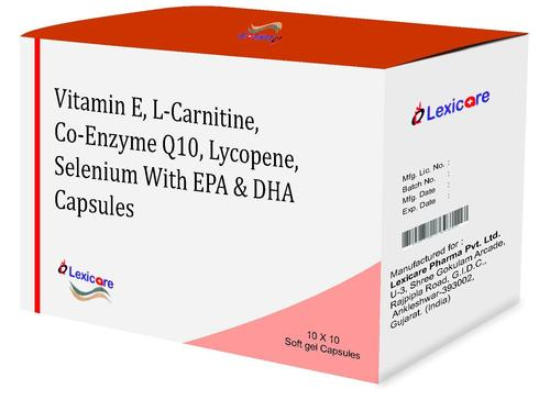 Vitamin E and L-Carnitine and Co-Enzyme Q10 and Lycopene and Selenium and EPA and DHA Softgel Capsules
