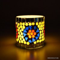 MOSAIC DECOR SML GLASS CANDLE HOLDER