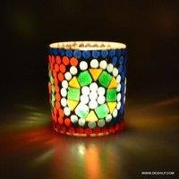 Handmade Mosaic White Glass Candle Holder